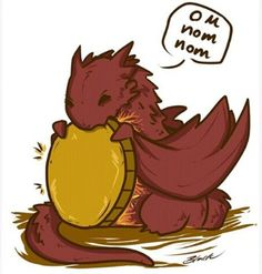 Chibi Smaug the Dragon The Hobbit fanart print Chibi Smaug the Dragon Om Nom Nom print. Fantasy Creatures, Mythical Creatures, Elfa, J. R. R. Tolkien, O Hobbit, Cute Dragons, Dragon Art, Smaug Dragon, Tiny Dragon