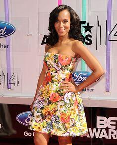 Kerry Washington, floral dress, BET Awards, LA, 2014