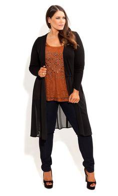 City Chic - DRAPE FRONT CARDI - Women's plus size fashion