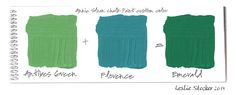 Annie Sloan Chalk Paint is easily mixed to form custom colors. Antibes Green added to Florence results in a deep emerald. Tints can then be made by adding different amounts of Old White to the cust…