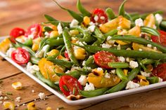 Green Bean Salad with Sweet Tomatoes and Grilled Corn