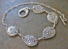 Silver Teardrop Bracelet Metal Clay
