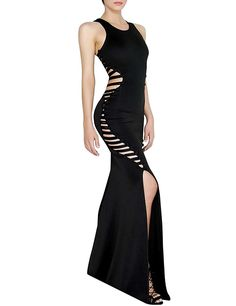 d17ad8ca7dc9 Amazon.com  Hego Women s Round Neck Sleeveless Fishtail Sexy Bandage Club  Party Maxi Dresses Long H2651  Clothing