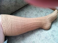 Toledo stocking—original size definitely doesn't fit my leg. Stitch for stitch copy for one of the stockings.