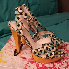 Strappy multicolor Sandals Practically new worn twice in great condition.  Definitely your summer must have sandal. Chinese Laundry Shoes Sandals