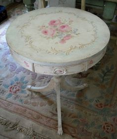 shabby chic, painted roses drum table by Debi Coules