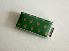 Mini Card Holder - Cheerful / Dear Sukie, mini card, moo card, small wallet, snap, vinyl, paper, cute wallet, acorns, plaid, fall, green