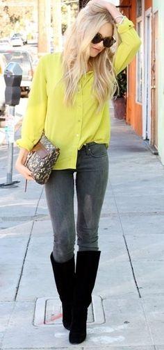yellow top, grey jeans & black boots