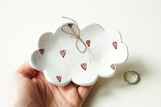 Wedding Ring PlateCloud Shaped Plate Ceramic Ring by HerMoments