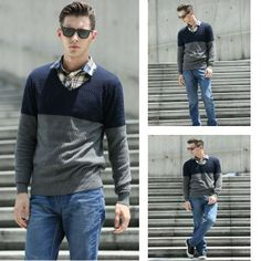 Men's V-neck Long Sleeve Autumn Winter Knitwear Sweater via martEnvy. Click on the image to see more!