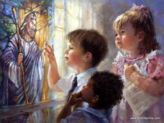 The sun beams through the church window as three little children focus in on the stained glass of Jesus. This print is a limited edition with a certificate of authenticity and is available unframed in
