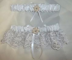 Garter  White lace and pearls seed beading satin by kathyjohnson3, $42.00