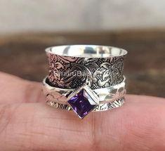 Amethyst Gemstone, Purple Amethyst, Gemstone Rings, Meditation Rings, Purple Band, Spinner Rings, Perfect Gift For Her, Boho Rings, Semi Precious Gemstones