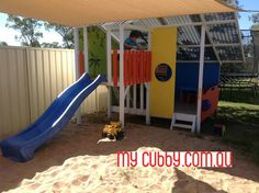 What a great set up. We love that this cubby has it very own huge sand pit and shade sail. #MyCubby #CubbyHouse #Cubbies #Cubby #OutdoorPlay #Kids #AussieKids #HappyKids #Backyard