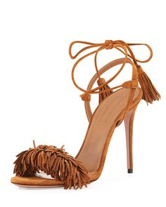 Wild+Thing+Suede+Sandal,+Cognac+by+Aquazzura+at+Neiman+Marcus.