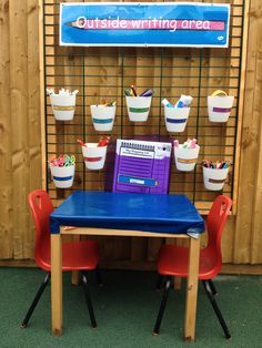 Outside writing area More play areas eyfs Outdoor Learning Spaces, Outdoor Play Areas, Outdoor Education, Eyfs Outdoor Area Ideas, Outdoor Games, Eyfs Classroom, Classroom Layout, Outdoor Classroom, Reception Classroom Ideas