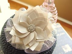 Perfect bridal hair piece tan and rhinestone bridal by epeebles, $24.95