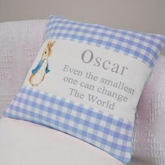 Peter Rabbit© Quote Cushion Blue Sewing Crafts, Sewing Projects, Christening Gifts, Peter Rabbit, Beatrix Potter, Little Boys, Baby Boy, Cushions, Nursery