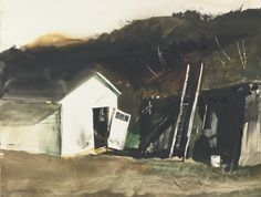"""Barn Lamp"" by Andrew Wyeth. 1955 watercolor with scratching out on paper laid down on board. One of 4 Andrew Wyeth paintings scheduled for auction 2 October 2014 at Sotheby's NYC. Pre-auction estimate: $40,000-$60,000USD. Sold at $53,125 USD."
