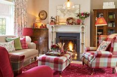 Autumn Cosiness With Cranberry Cottage is part of Cottage Living Room Laura Ashley - Learn everything you need to know about our cranberry cottage collection Living Room Red, Cottage Living Rooms, Cottage Interiors, Cottage Homes, Home And Living, Living Area, Childrens Room Decor, Home And Deco, Cozy House