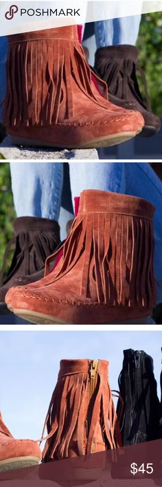•Fall•Fringe•Ankle•Booties•Moccasins• These fringe ankle booties come in rust color (sort of like a camel), perfect for Fall!): They feature a back zipper for easy on and off access and they can be worn with so many outfits. The material is a faux suede material. Shoes Ankle Boots & Booties