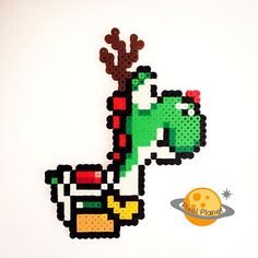 Christmas Rudolph Yoshi perler beads by pixel_planet_