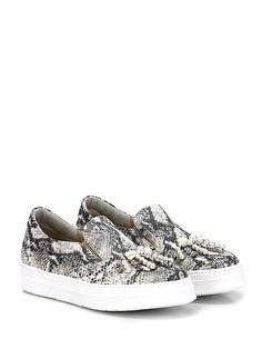 GIANCARLO PAOLI - Sneakers - Donna - Sneaker in pelle stampa pitone con strass e perle su puntale ed inserti elasticizzati a soffietto su ambo i lati. Suola in gomma, tacco 35. - ROCCIA - € 250.00