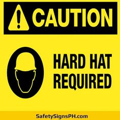 Aimed at preventing serious head injuries at workplace, our mandatory hard hat area signs will ensure your fa. Construction Safety, Head Injury, Health And Safety, Workplace, Philippines, Lettering, Signs, Hats, Hat