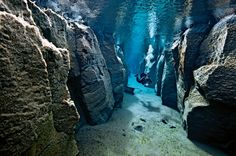 """One of the many reasons I want to visit Iceland... Silfra Fissure """"big crack"""" diving"""