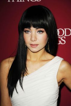 Ksenia Solo. Love her hair with the thick bangs and all.