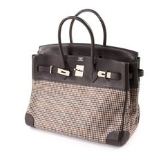 52efa4f304eb Shop authentic Hermès Birkin 35 Clemence Leather and Houndstooth Canvas at  revogue for just USD 8