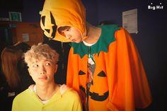 Namjoon is feeling a little intimidated by the Halloween pumpkin...