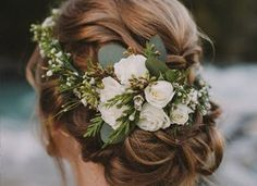 Flower crowns are a winning winter wedding hair accessory. Flower crowns are a winning winter wedding hair accessory. Flower crowns are a winning winter wedding hair accessory. Flower crowns are a winning winter wedding hair accessory. Wedding Hair Flowers, Wedding Hair And Makeup, Wedding Updo, Wedding Hair Accessories, Flowers In Hair, Bridal Updo, Green Wedding, Wedding Jewelry, Fresh Flowers