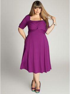 "Tiffany Plus Size Dress in Orchid - Work Dresses by IGIGI Model Info: Wearing Size 14/16, Height - 5'9"", Shape - Triangle"
