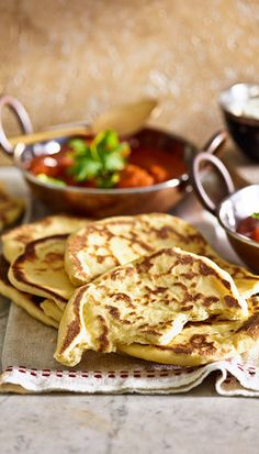 Naan bread: Beautifully soft and tender, these slightly charred teardrops of bread are full of flavour. Great for mopping up a curry sauce, or just enjoy them straight from the pan!