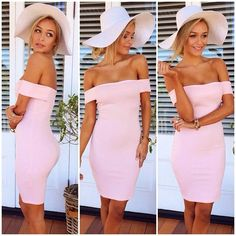 Pink straw hat and pink dress. Cute for a night out or happy hour with the girls!
