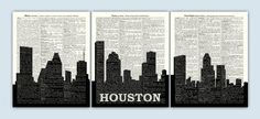 Houston Skyline Triptych Houston Art Print Houston by DicosLand