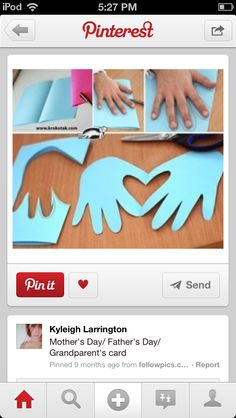Cute and simple Hands & Heart Kids Crafts, Easy Diy Crafts, Preschool Crafts, Valentine Crafts For Kids, Homemade Valentines, Holiday Crafts, Paper Plate Crafts, Valentine's Cards For Kids, Diy For Kids