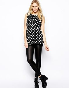 Image 4 of New Look Maternity Polka Dot  Pintuck Blouse