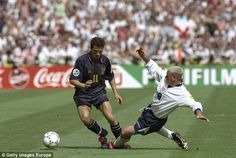 Paul Gascoigne of England tackles John Collins of Scotland during the Euro 96 clash Euro 1996, English Legends, John Collins, England National, World Cup Qualifiers, England Football, International Football, European Championships, Coming Home