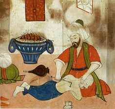 Health in the Ottoman Empire: A Collective Achievement in the History of Ottoman Medicine | Muslim Heritage- The treatment of a patient in an early period for curvature of the spine and reduction of a hunched back. Sabuncuoglu, Cerrâhiyat al-Hâniye.