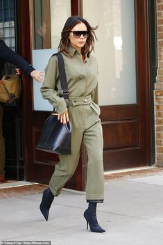 Harrowing: Victoria Beckham recalled haunting moment she thought she was SHOT on stage at the Brits and 'looked for bullet holes'. ahead of Spice Girls reunion Green Fashion, Winter Fashion, Formal Smart Casual, Olive Jumpsuit, The Beckham Family, Simple Gowns, Victoria Fashion, Victoria Beckham Style, Spice Girls