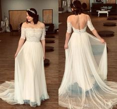 Sheer Neck Plus Size Wedding Dresses Short Sleeves Backlees Beach Bridal Gown Plus Size Wedding Dress Short, Sheer Wedding Dress, Tea Length Wedding Dress, Bohemian Wedding Dresses, Lace Weddings, Ball Gown Dresses, Bridal Dresses, Night Dress For Women, Illusion Dress