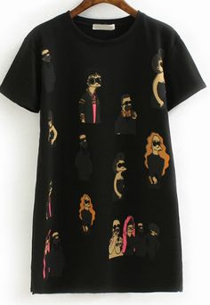 Black Short Sleeve Simpson Print T-Shirt 12.17