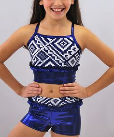 Navy & White Abstract Sports Bra & Shorts - Girls by Butterfly TREASURES #zulily #zulilyfinds