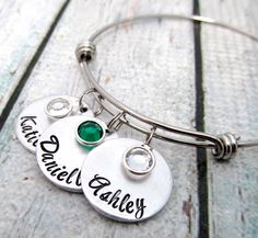 Personalized Hand Stamped Expandable Sterling Silver Bangle Bracelet - Jewelry Gift for Mother