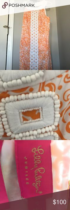 Lilly Pulitzer Dress Orange and white straight fit Lilly dress with beaded neckline! Lilly Pulitzer Dresses Midi