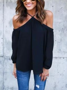 Black Halter Cold Shoulder Chiffon Top