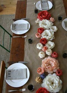Handmade fabric flower table arrangement from Emersonmade.