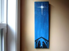 Hand Painted Nativity Scene canvas painting for 2014 Christmas - 2014 Christmas painting decorations, Christian Christmas Decoration.